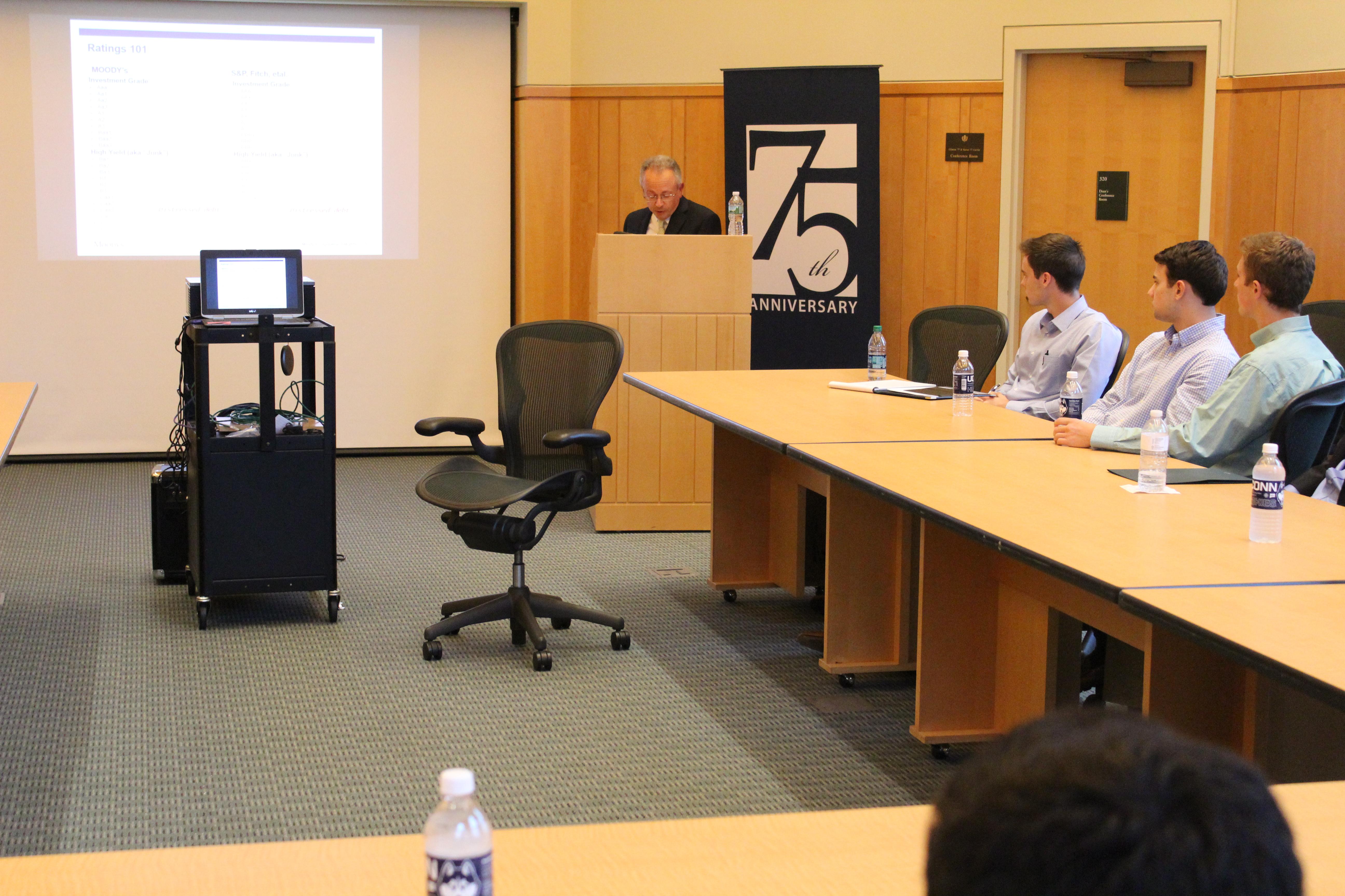Tom Marshella of Moody's speaking in School of Business Board Room