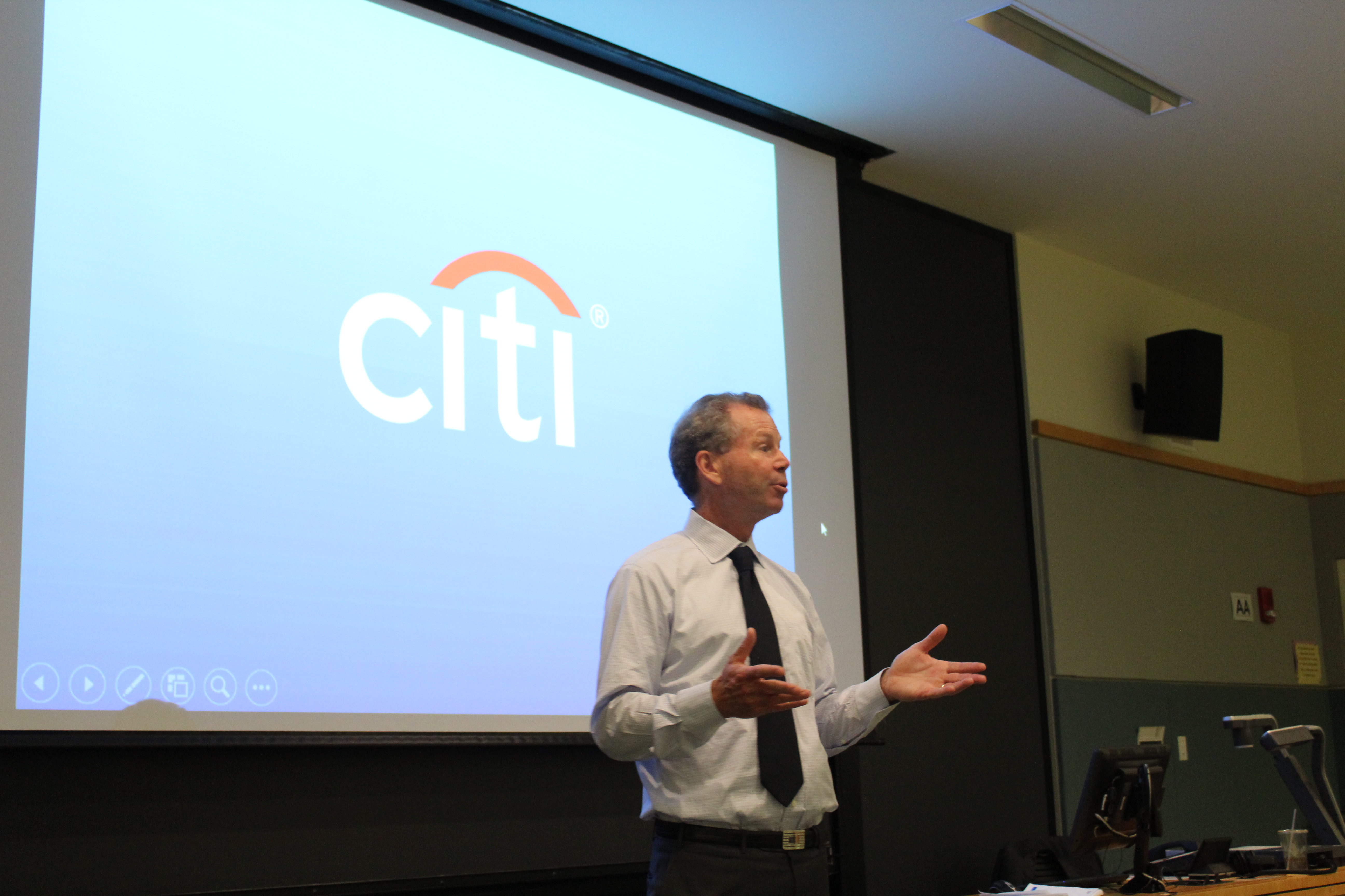 Shapleigh Smith of Citigroup speaking to the members of the Finance Society.